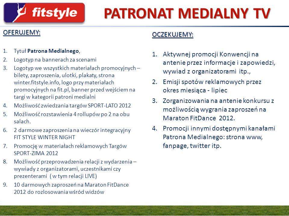 PATRONAT MEDIALNY TV GRUPA FIT.PL OFERUJEMY: OCZEKUJEMY: