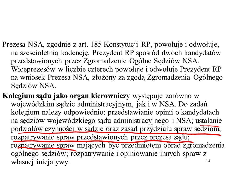 Prezesa NSA, zgodnie z art