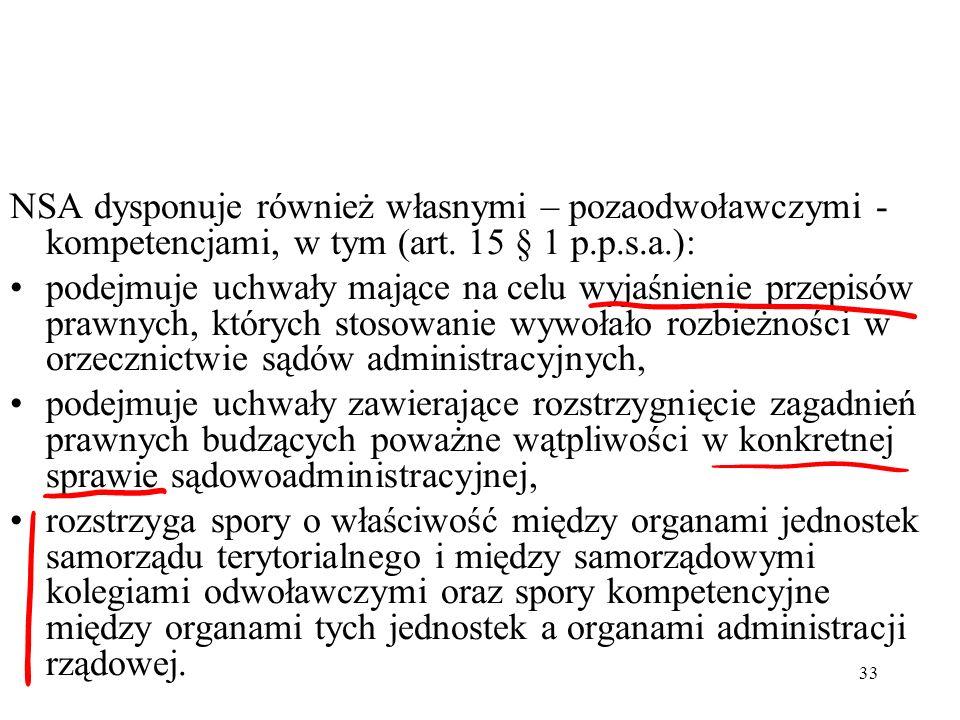 NSA dysponuje również własnymi – pozaodwoławczymi - kompetencjami, w tym (art. 15 § 1 p.p.s.a.):