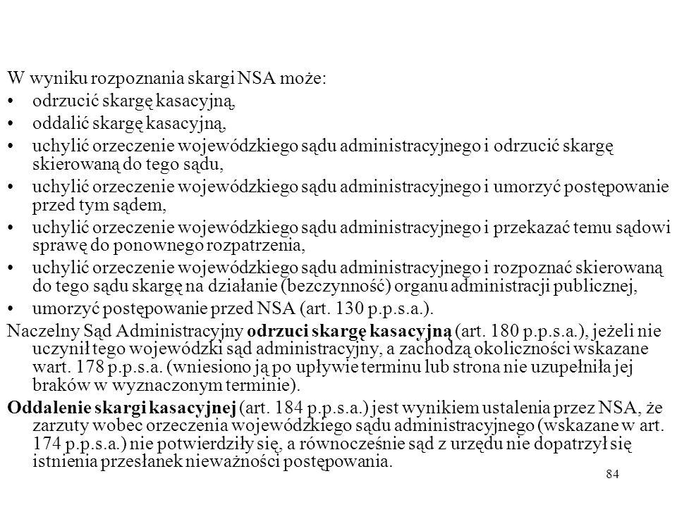 W wyniku rozpoznania skargi NSA może: