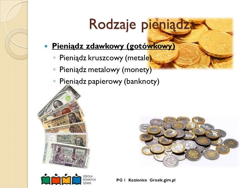 Rodzaje pieniądza Pieniądz zdawkowy (gotówkowy)