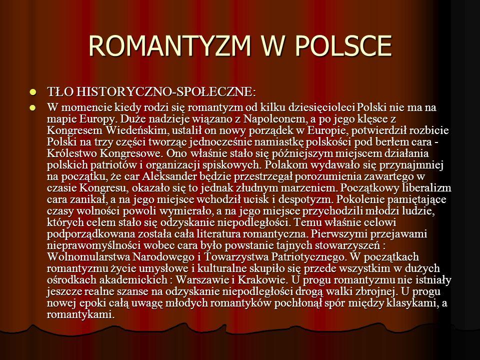 ROMANTYZM W POLSCE TŁO HISTORYCZNO-SPOŁECZNE: