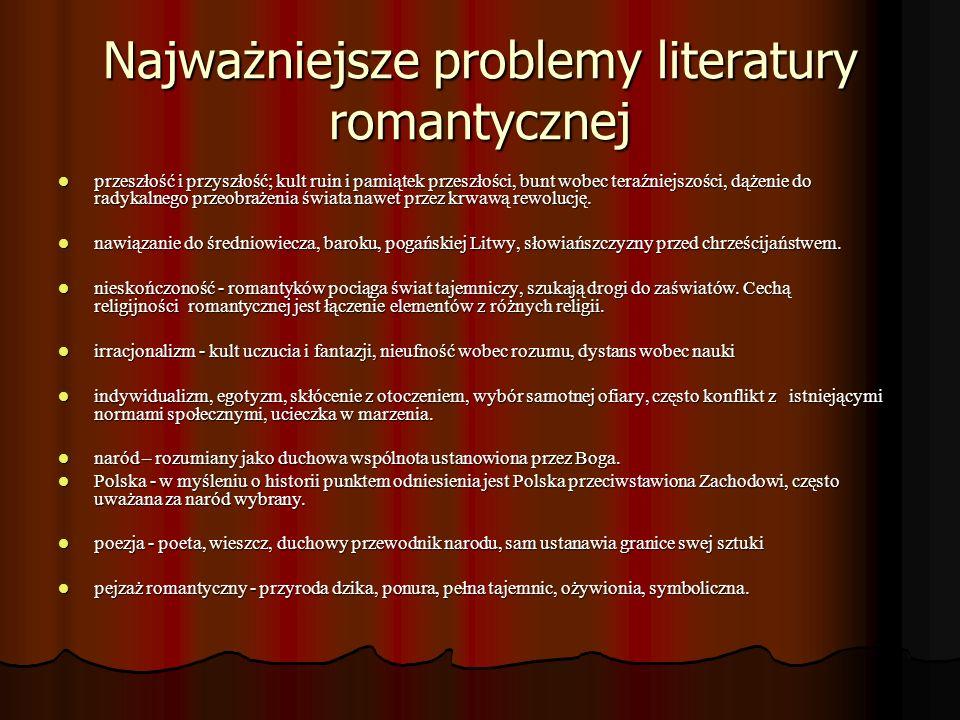 Najważniejsze problemy literatury romantycznej
