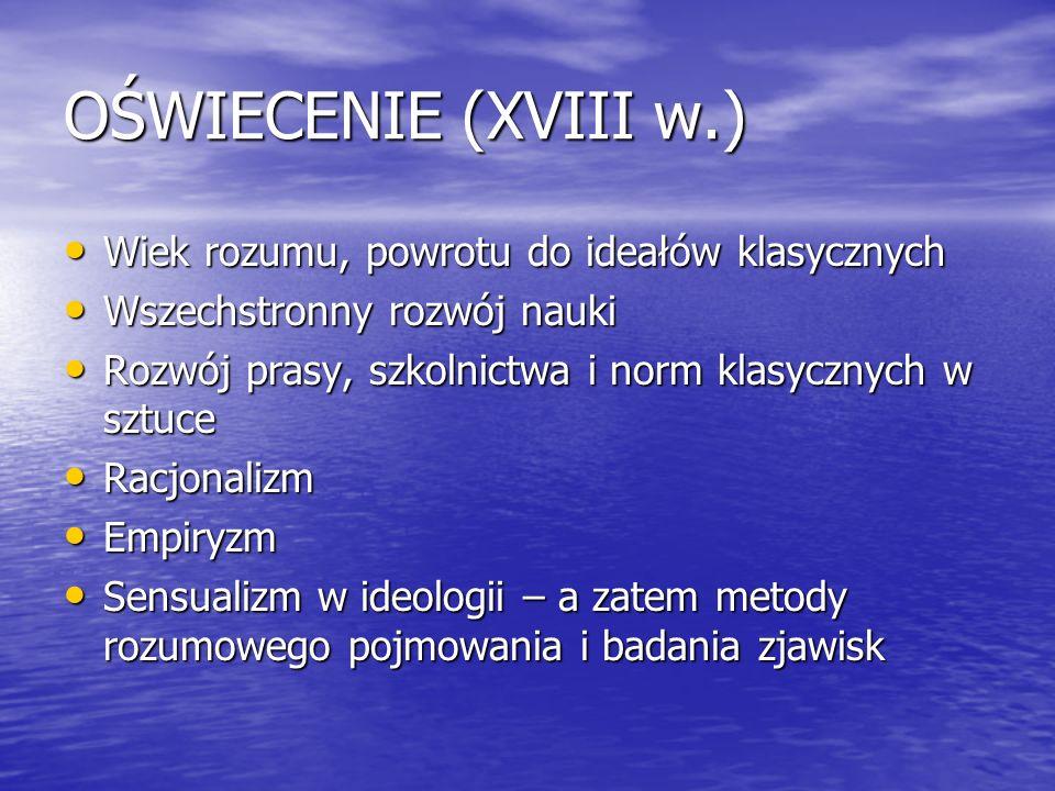 OŚWIECENIE (XVIII w.) Wiek rozumu, powrotu do ideałów klasycznych