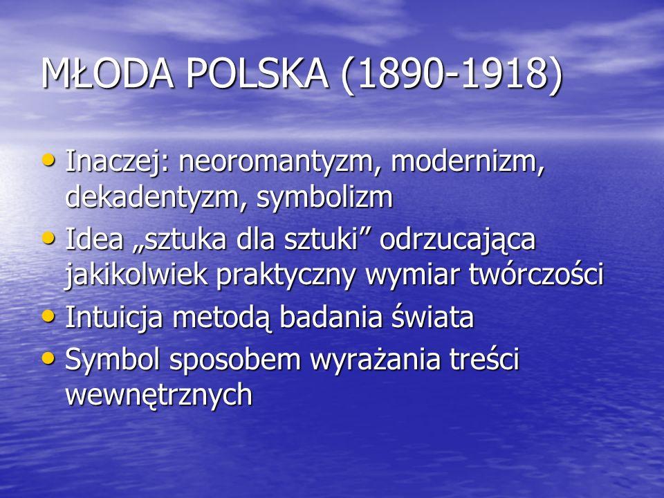 MŁODA POLSKA (1890-1918) Inaczej: neoromantyzm, modernizm, dekadentyzm, symbolizm.