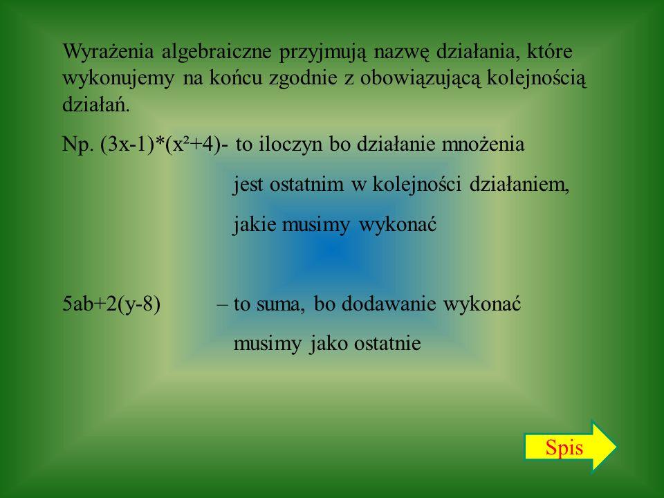 Wyrażenia algebraiczne przyjmują nazwę działania, które wykonujemy na końcu zgodnie z obowiązującą kolejnością działań.