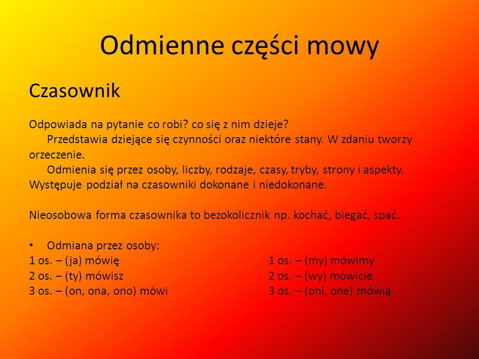 Odmienne części mowy Czasownik
