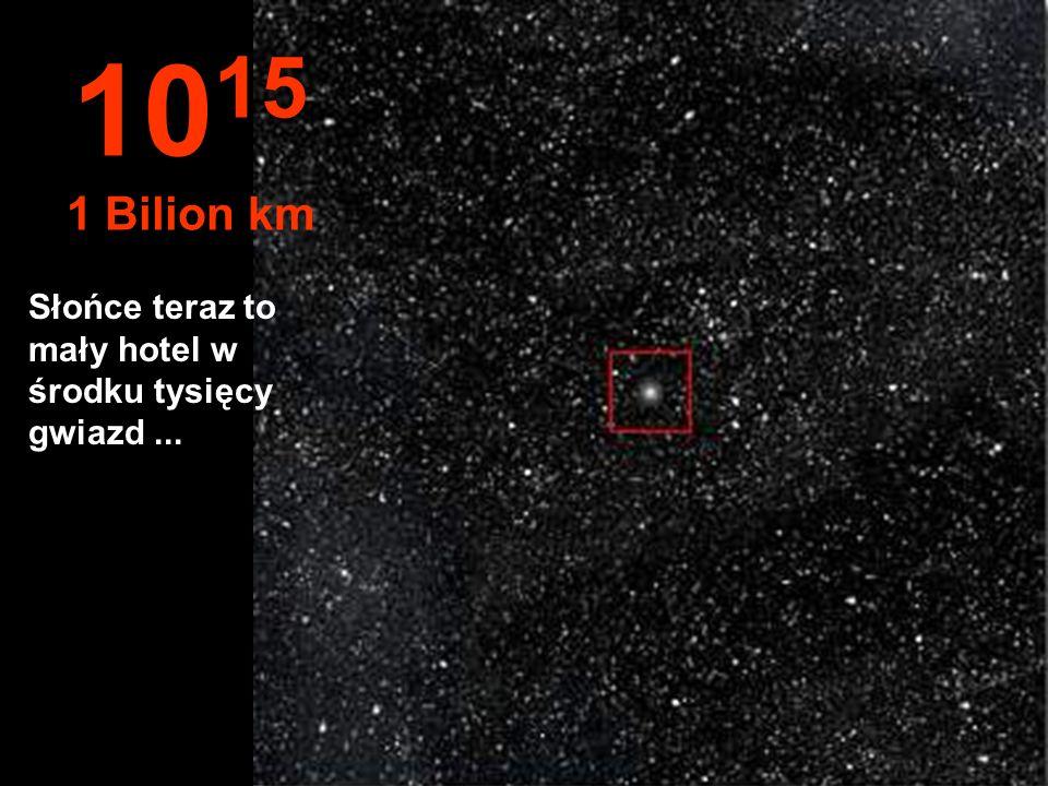1015 1 Bilion km Słońce teraz to mały hotel w środku tysięcy gwiazd ...