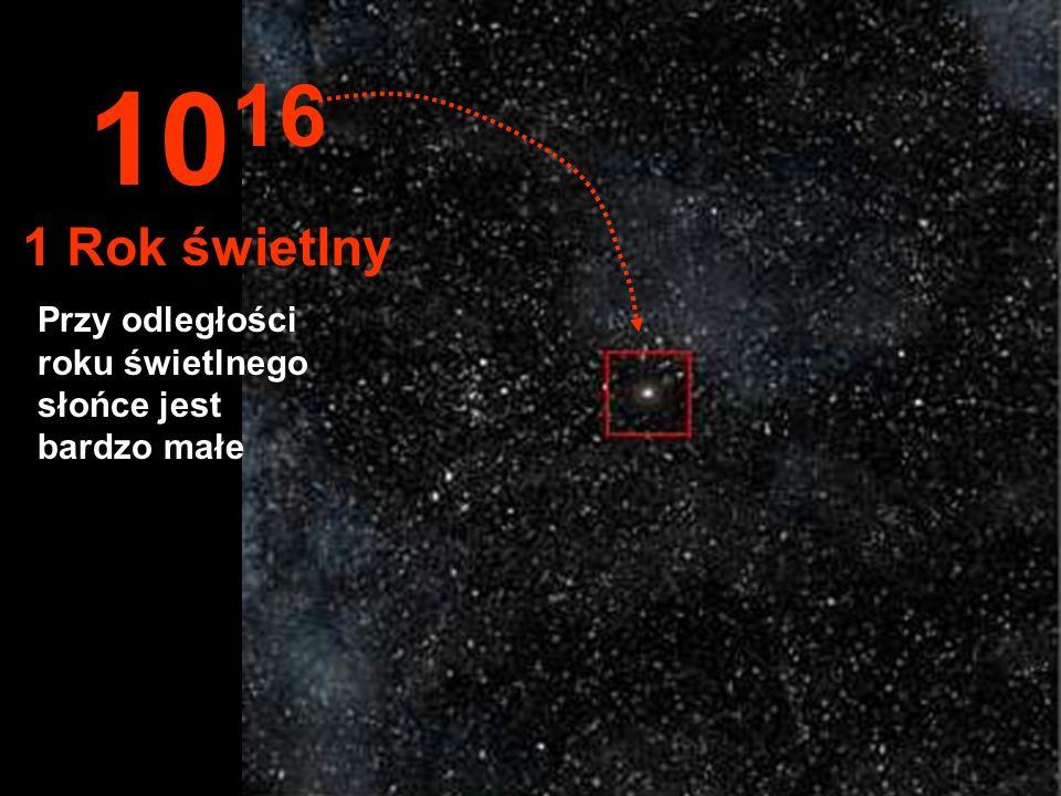 1016 1 Rok świetlny Przy odległości roku świetlnego słońce jest bardzo małe