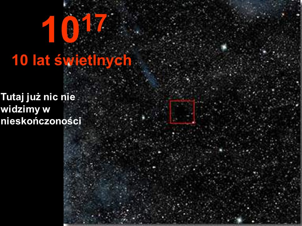 1017 10 lat świetlnych Tutaj już nic nie widzimy w nieskończoności