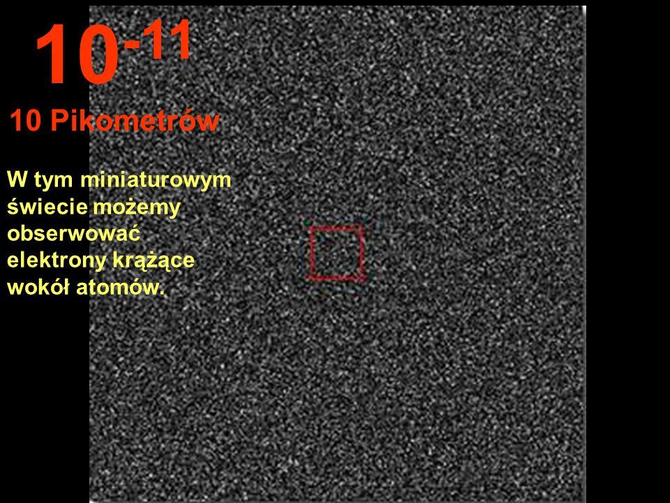 10-11 10 Pikometrów W tym miniaturowym świecie możemy obserwować elektrony krążące wokół atomów.