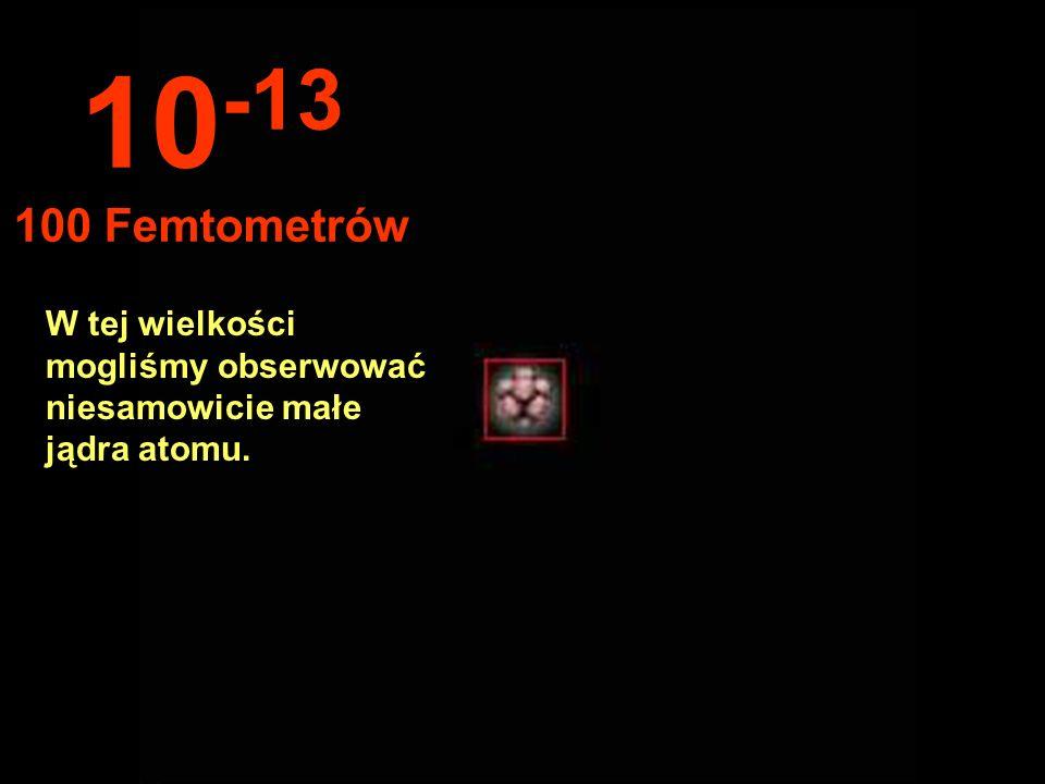 10-13 100 Femtometrów W tej wielkości mogliśmy obserwować niesamowicie małe jądra atomu.