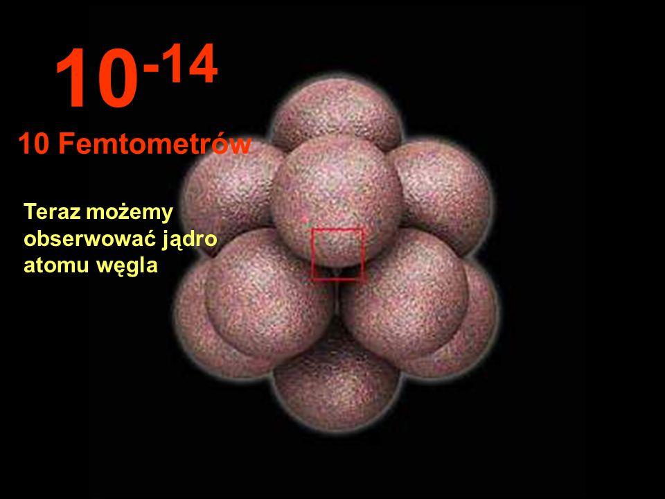 10-14 10 Femtometrów Teraz możemy obserwować jądro atomu węgla