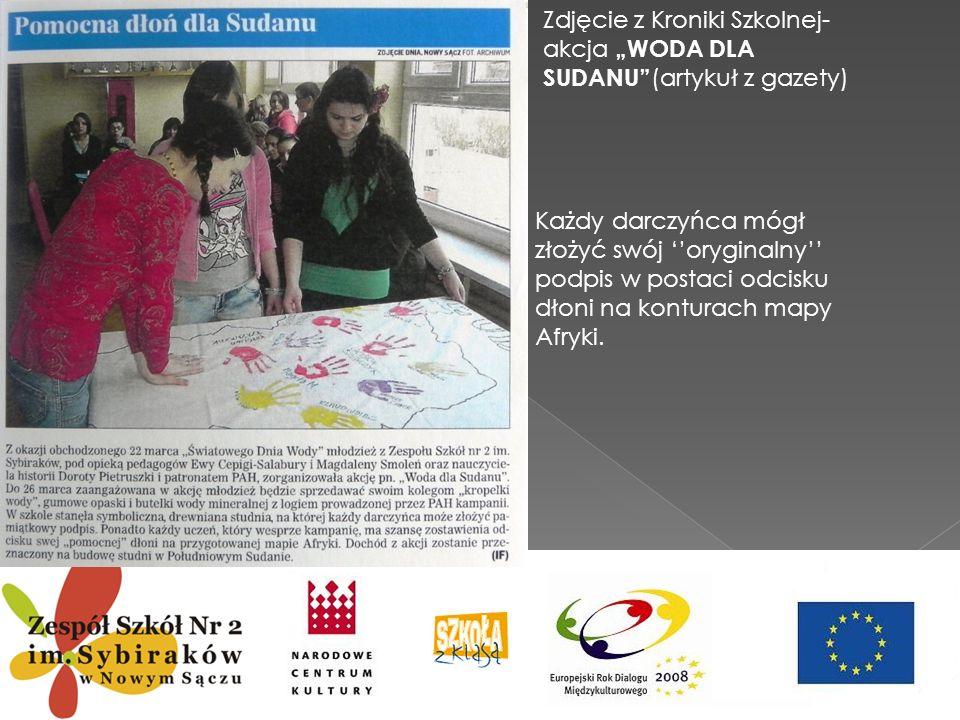 """Zdjęcie z Kroniki Szkolnej-akcja """"WODA DLA SUDANU (artykuł z gazety)"""