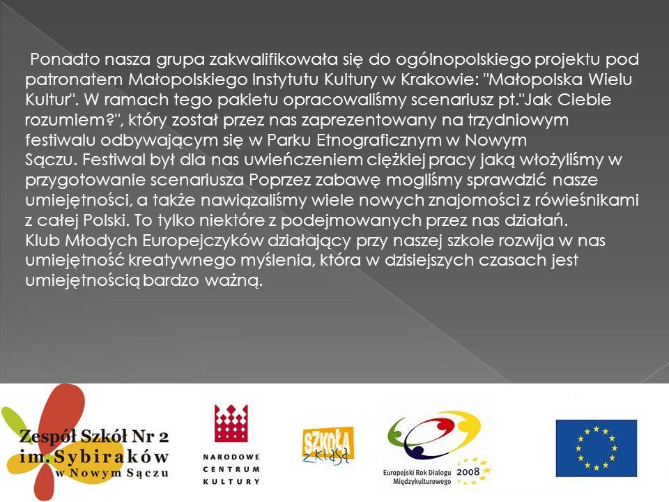 Ponadto nasza grupa zakwalifikowała się do ogólnopolskiego projektu pod patronatem Małopolskiego Instytutu Kultury w Krakowie: Małopolska Wielu Kultur . W ramach tego pakietu opracowaliśmy scenariusz pt. Jak Ciebie rozumiem , który został przez nas zaprezentowany na trzydniowym festiwalu odbywającym się w Parku Etnograficznym w Nowym Sączu. Festiwal był dla nas uwieńczeniem ciężkiej pracy jaką włożyliśmy w przygotowanie scenariusza Poprzez zabawę mogliśmy sprawdzić nasze umiejętności, a także nawiązaliśmy wiele nowych znajomości z rówieśnikami z całej Polski. To tylko niektóre z podejmowanych przez nas działań.