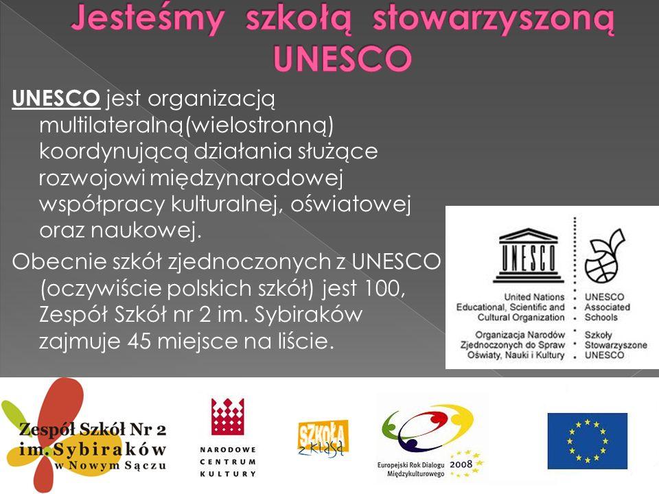 Jesteśmy szkołą stowarzyszoną UNESCO
