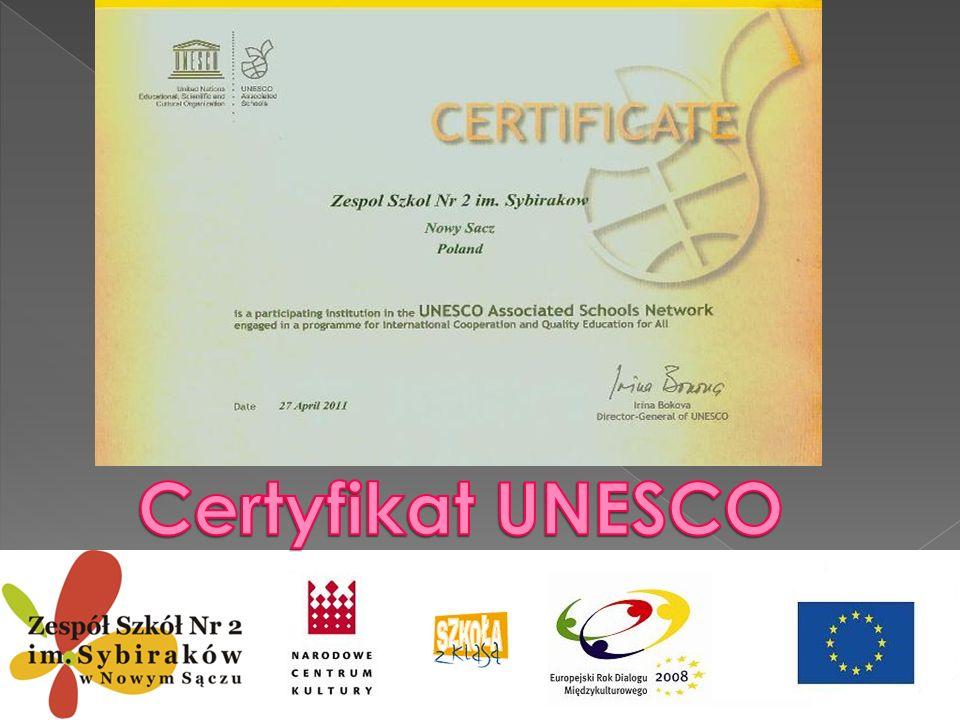 Certyfikat UNESCO