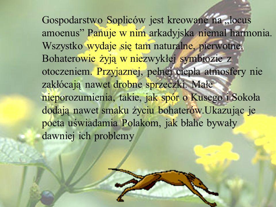 """Gospodarstwo Sopliców jest kreowane na """"locus amoenus Panuje w nim arkadyjska niemal harmonia."""