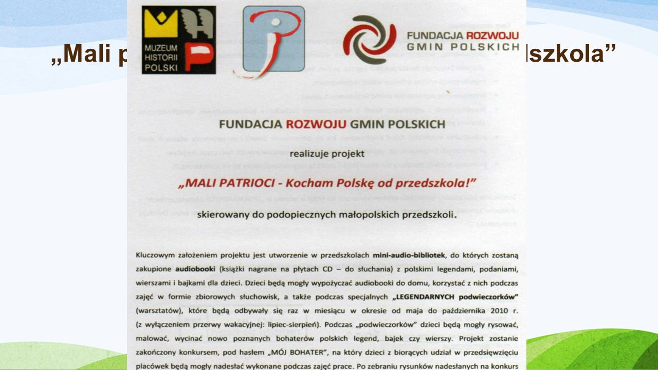 """Realizacja projektu: """"Mali patrioci – Kocham Polskę od Przedszkola"""