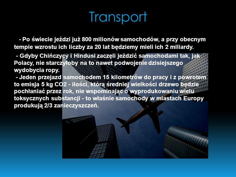 Transport- Po świecie jeździ już 800 milionów samochodów, a przy obecnym tempie wzrostu ich liczby za 20 lat będziemy mieli ich 2 miliardy.