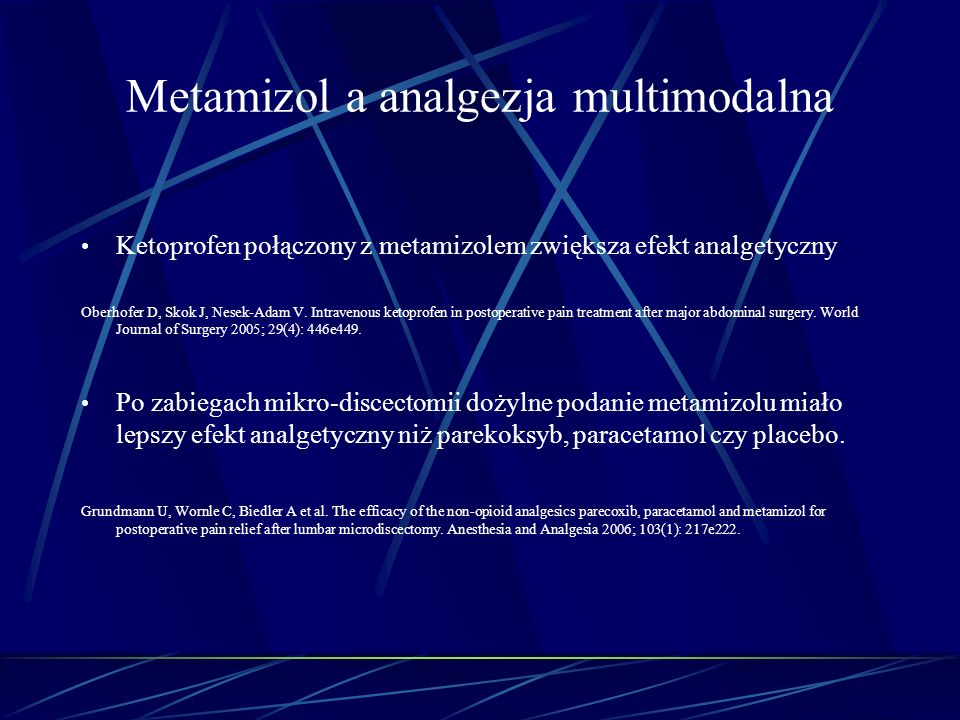 Metamizol a analgezja multimodalna