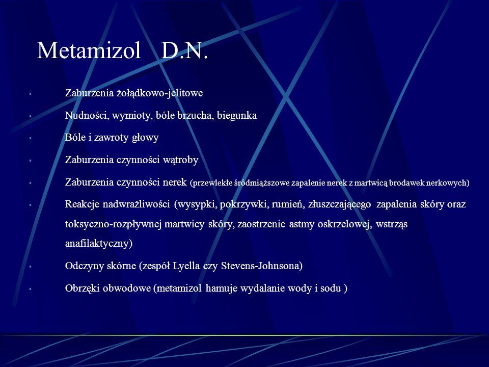 Metamizol D.N. Zaburzenia żołądkowo-jelitowe