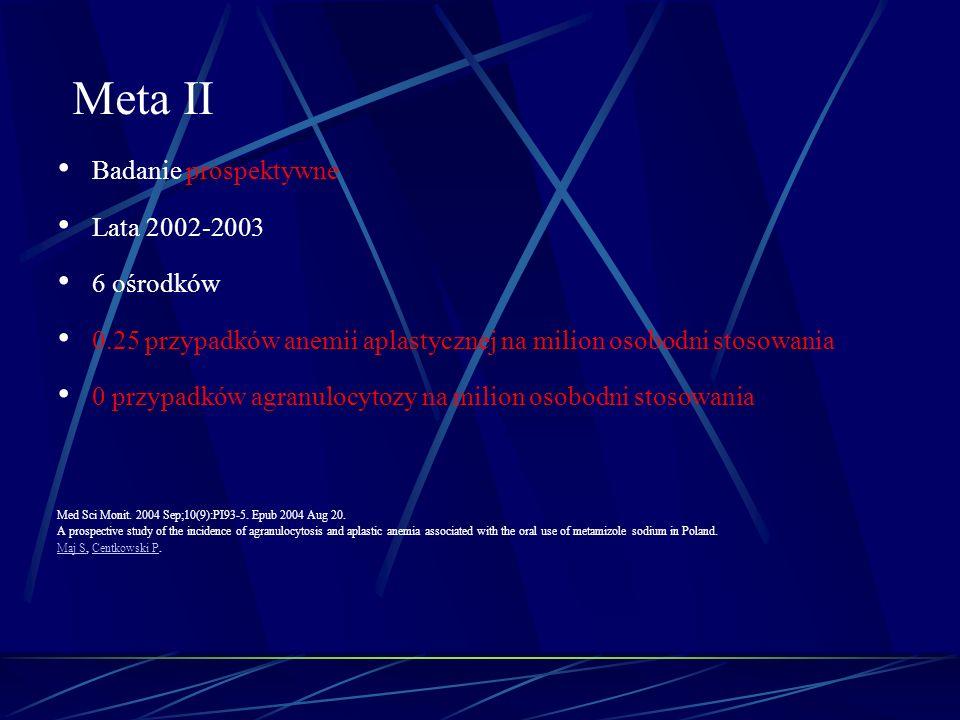Meta II Badanie prospektywne Lata 2002-2003 6 ośrodków