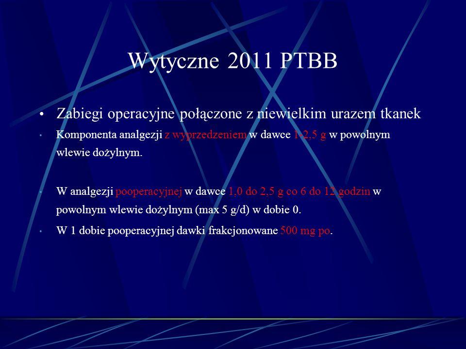 Wytyczne 2011 PTBB Zabiegi operacyjne połączone z niewielkim urazem tkanek.