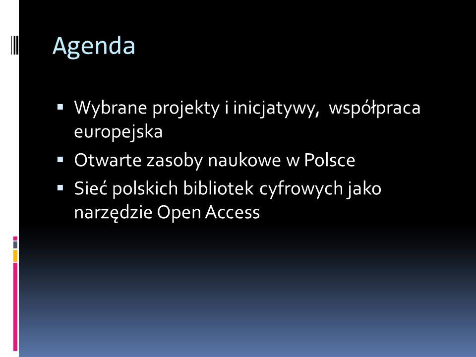 Agenda Wybrane projekty i inicjatywy, współpraca europejska