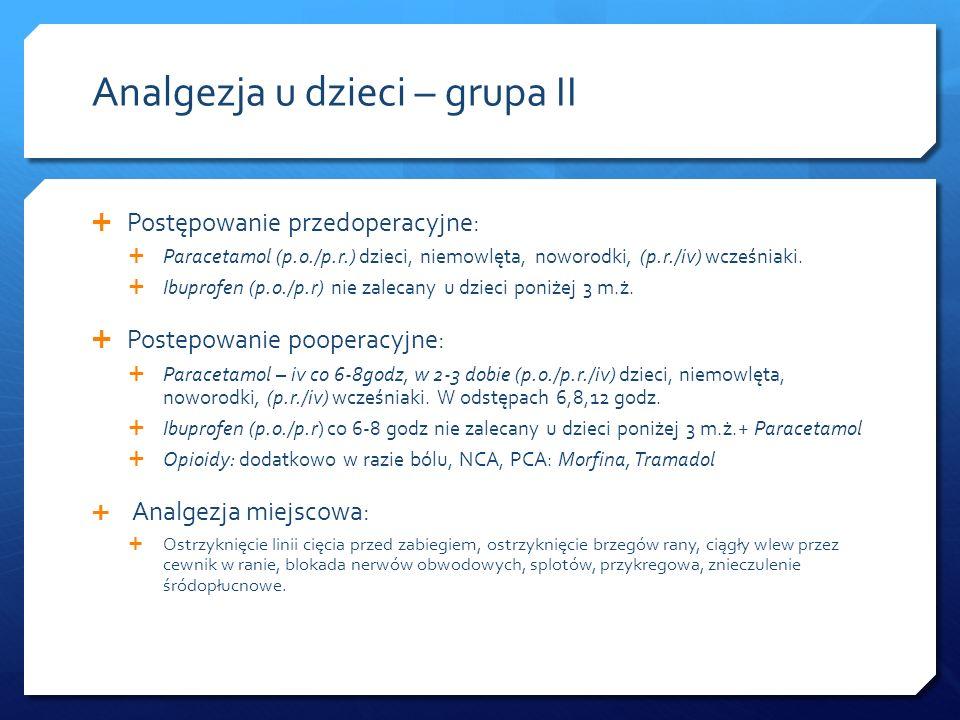 Analgezja u dzieci – grupa II