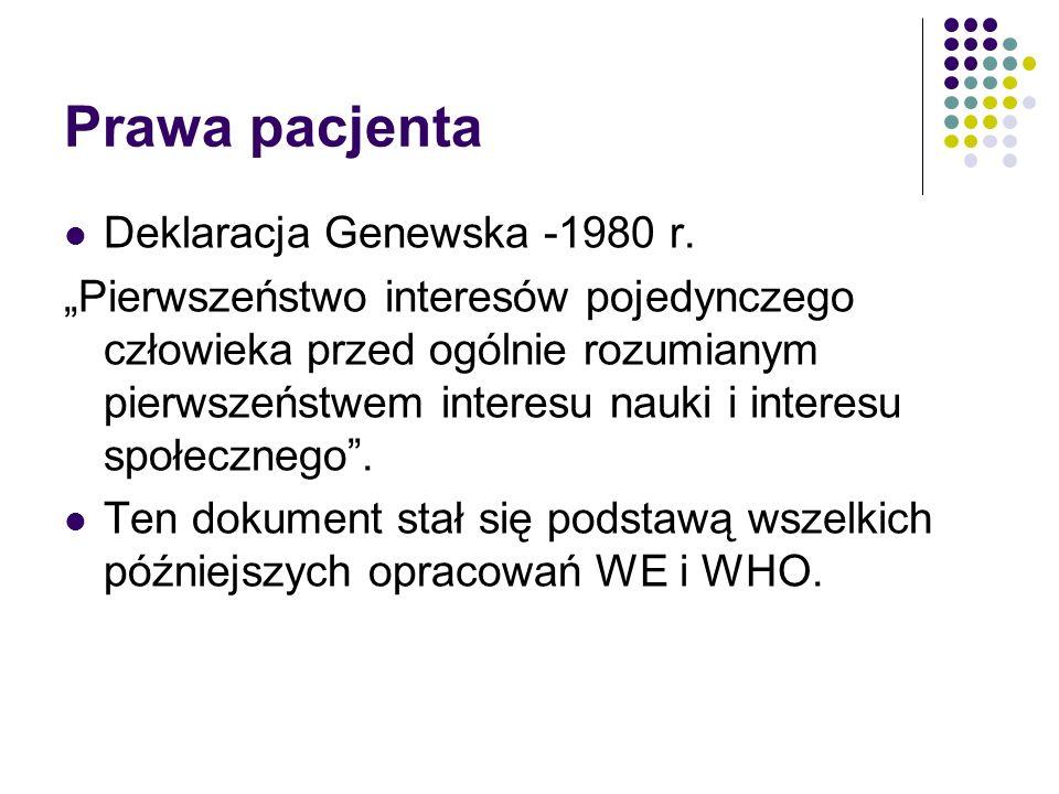 Prawa pacjenta Deklaracja Genewska -1980 r.