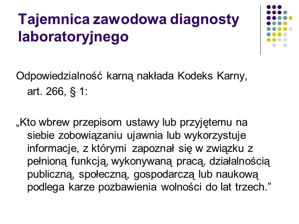 Tajemnica zawodowa diagnosty laboratoryjnego