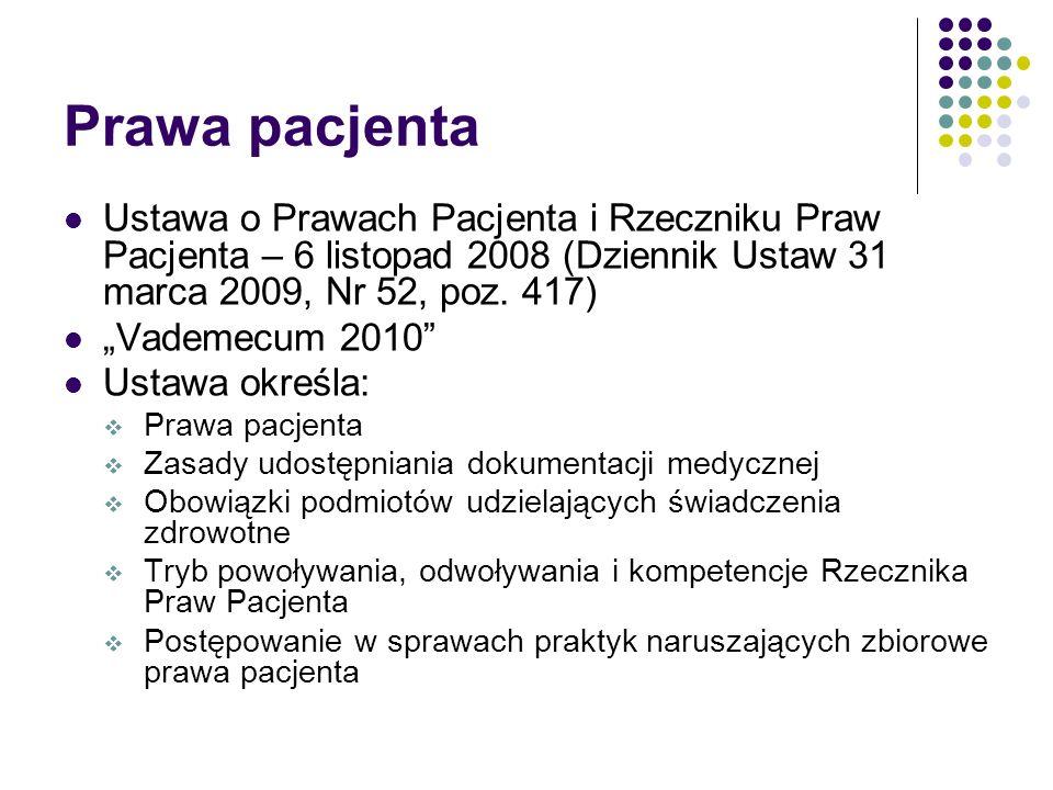Prawa pacjenta Ustawa o Prawach Pacjenta i Rzeczniku Praw Pacjenta – 6 listopad 2008 (Dziennik Ustaw 31 marca 2009, Nr 52, poz. 417)
