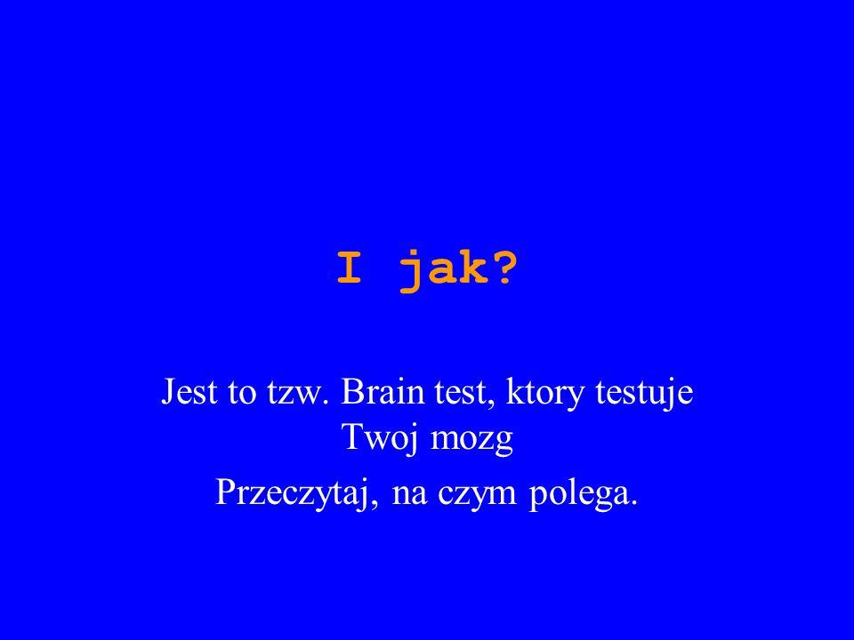 I jak Jest to tzw. Brain test, ktory testuje Twoj mozg
