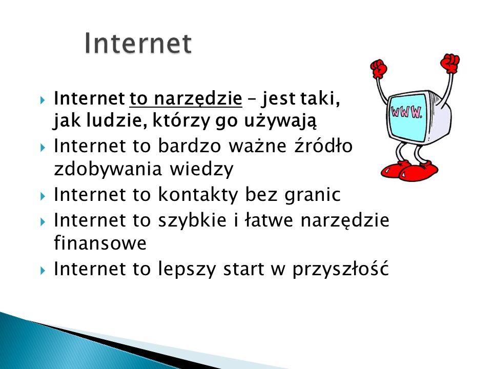 Internet Internet to bardzo ważne źródło zdobywania wiedzy