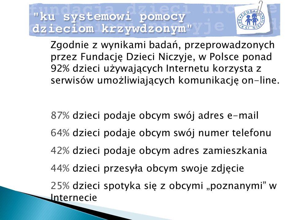 Zgodnie z wynikami badań, przeprowadzonych przez Fundację Dzieci Niczyje, w Polsce ponad 92% dzieci używających Internetu korzysta z serwisów umożliwiających komunikację on-line.