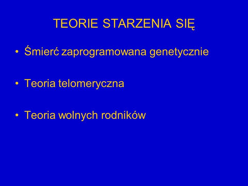 TEORIE STARZENIA SIĘ Śmierć zaprogramowana genetycznie