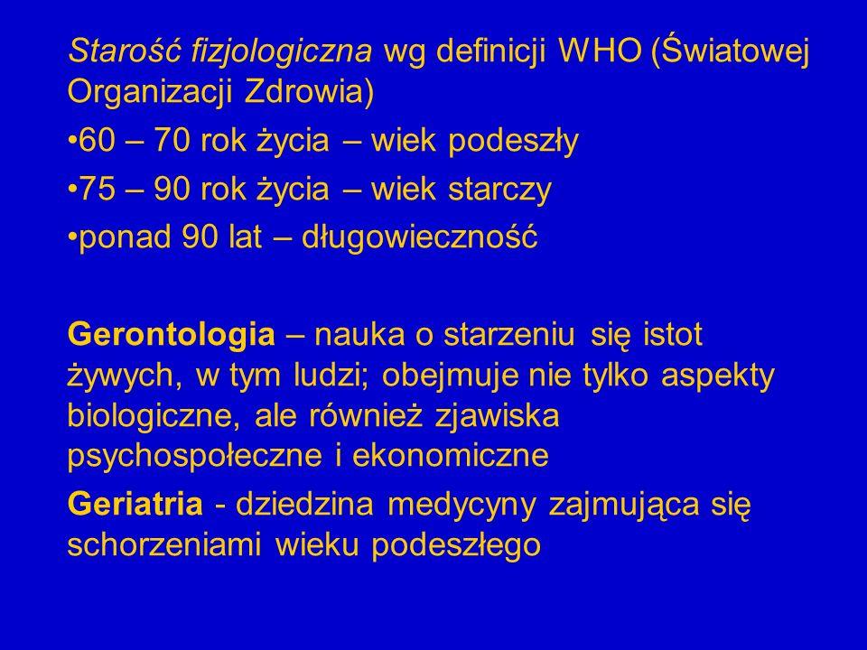 Starość fizjologiczna wg definicji WHO (Światowej Organizacji Zdrowia)