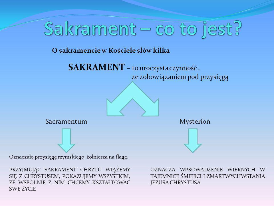 Sakrament – co to jest SAKRAMENT – to uroczysta czynność ,