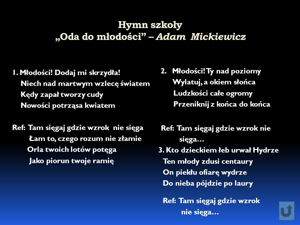 """Hymn szkoły """"Oda do młodości – Adam Mickiewicz"""