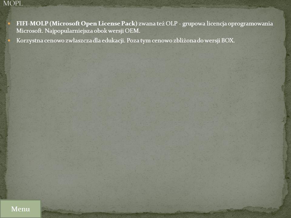 MOPL FIFI-MOLP (Microsoft Open License Pack) zwana też OLP - grupowa licencja oprogramowania Microsoft. Najpopularniejsza obok wersji OEM.