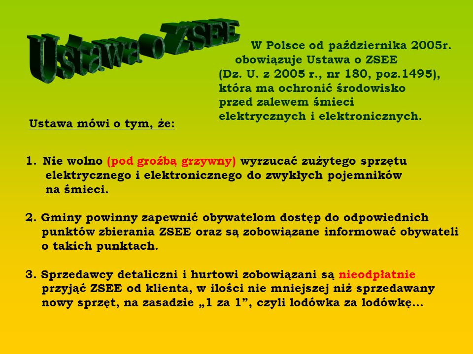 Ustawa o ZSEE W Polsce od października 2005r. obowiązuje Ustawa o ZSEE