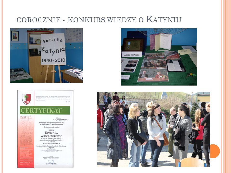 corocznie - konkurs wiedzy o Katyniu