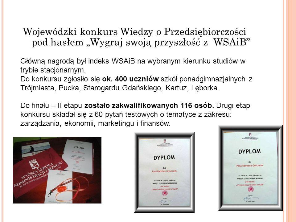 """Wojewódzki konkurs Wiedzy o Przedsiębiorczości pod hasłem """"Wygraj swoją przyszłość z WSAiB"""