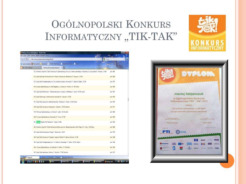 """Ogólnopolski Konkurs Informatyczny """"TIK-TAK"""