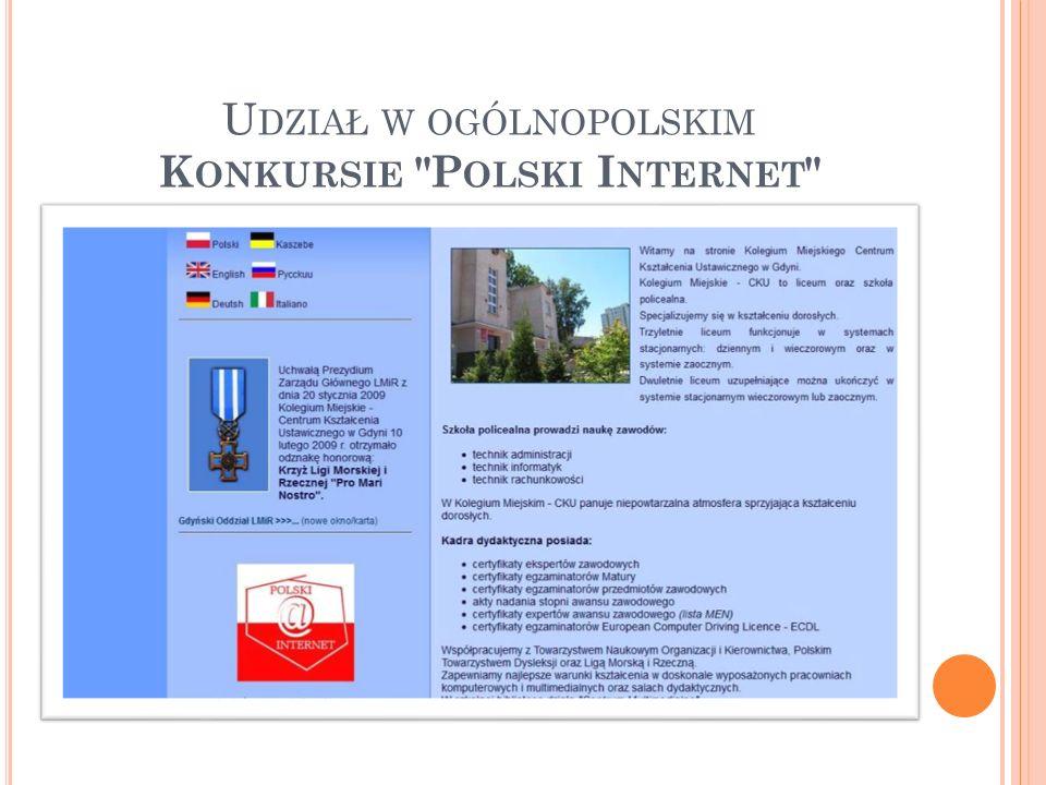 Udział w ogólnopolskim Konkursie Polski Internet