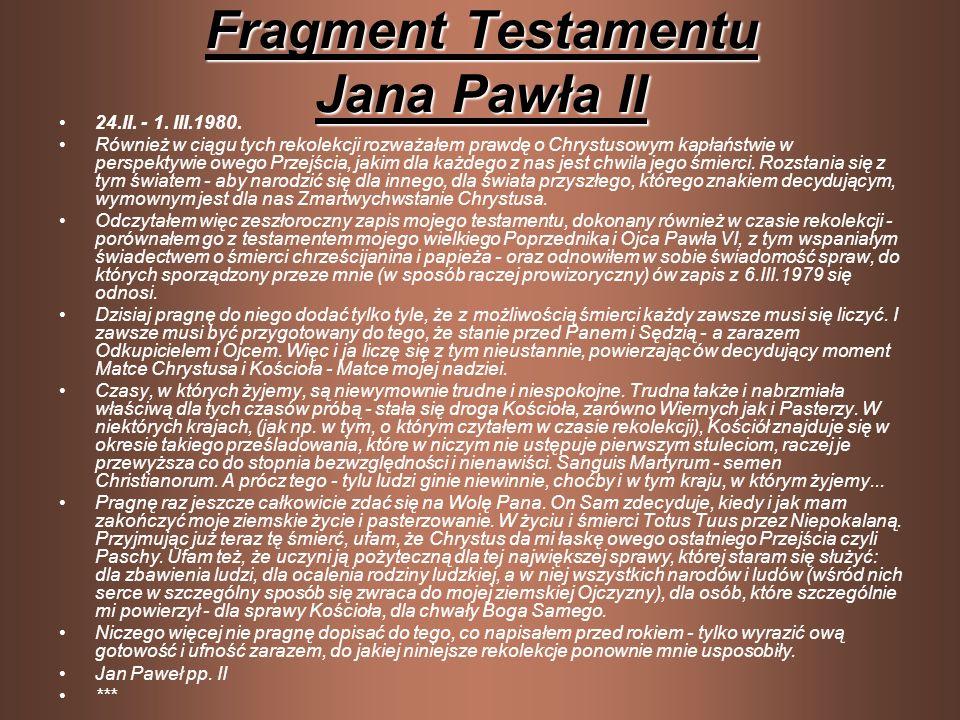Fragment Testamentu Jana Pawła II