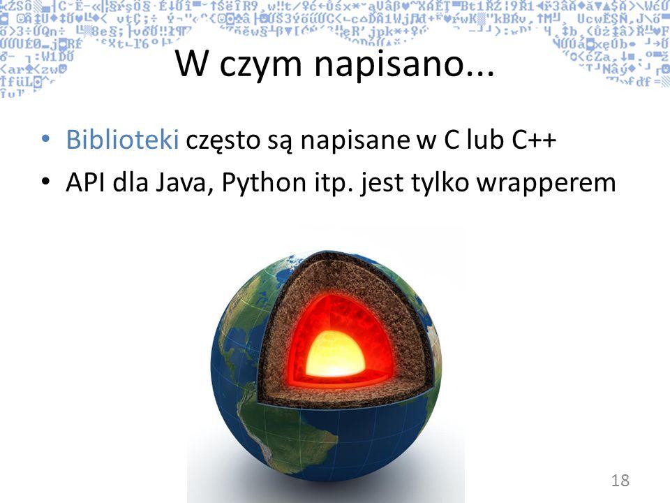 W czym napisano... Biblioteki często są napisane w C lub C++