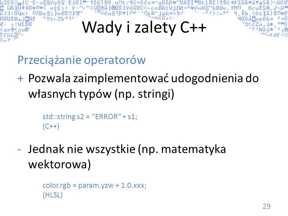 Wady i zalety C++ Przeciążanie operatorów