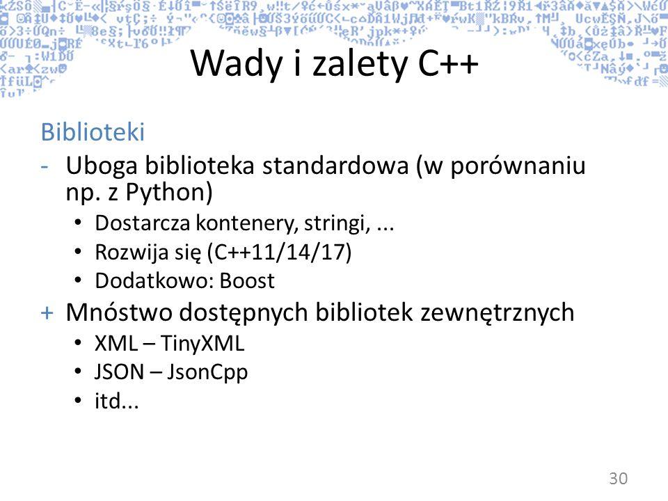 Wady i zalety C++ Biblioteki